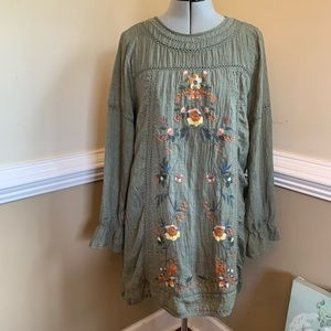 Umgee Large Boho Green Tunic Dress Embroidered